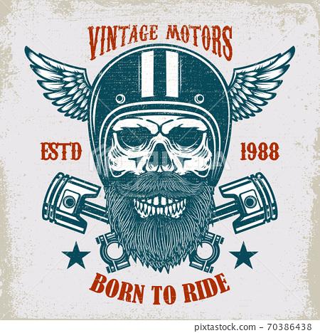 Vintage Motors Ride Hard Vintage Racer Skull Stock Illustration 70386438 Pixta