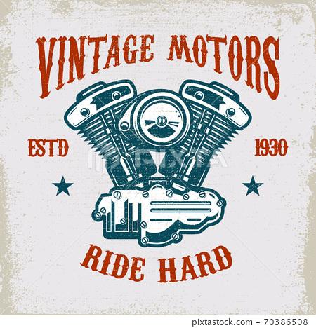 Vintage Motorcycle Motor On Grunge Background Stock Illustration 70386508 Pixta