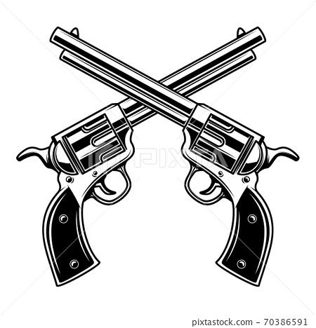 Emblem template with crossed revolvers. Design element for logo, label, emblem, sign. 70386591