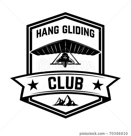 Hang gliding club emblem template. Design element for logo, label, emblem, sign. 70386810