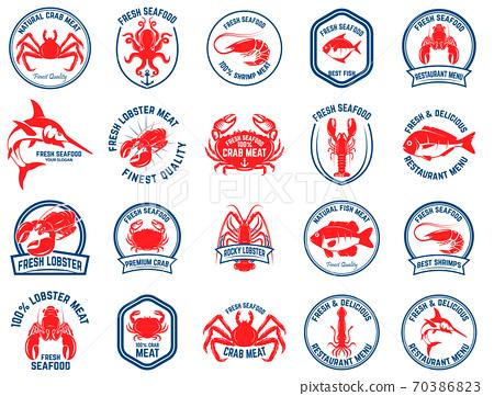Set of seafood market emblems. Design element for logo, label, emblem, sign. 70386823