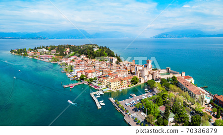 Scaligero Castle aerial view, Sirmione 70386879