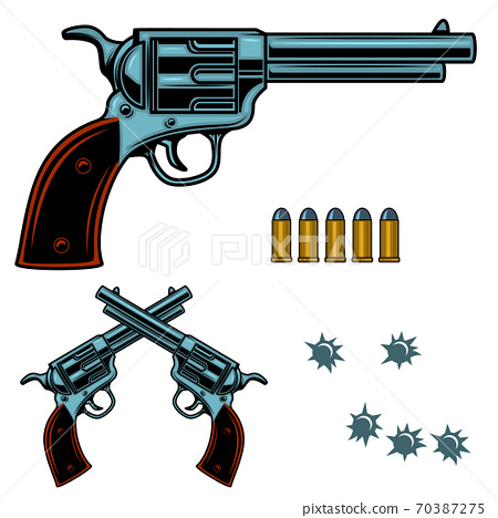 Revolver colorful illustration. Gun bullets and holes. Design element for poster, emblem, sign, banner. 70387275