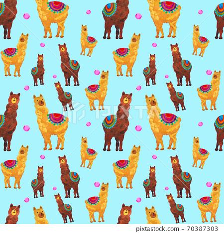 Cute alpaca seamless pattern illustration design watercolor painting 70387303