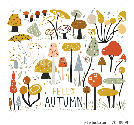 Autumn elements collection in flat style. Mushroom Forest. Colorful set with hand drawn mushrooms. Childish illustration in minimalist style. Scandinavian Swedish style. 70389096