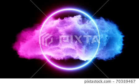 3D rendering Cloud with Glowing Neon Lights on dark background 70389467
