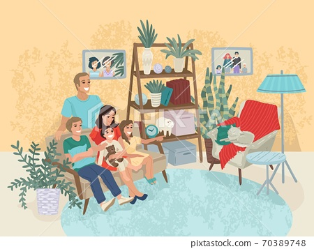 Family is sitting on the couch, a cat in a chair. Home interior, wardrobe in the hall. Rest with parents at home. Family portrait. Vector illustration 70389748
