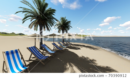 chairs under an umbrella at the beach by sunny day and  palm trees - 3D render 70390912