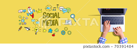Social media with woman using a laptop 70391484