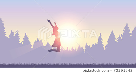 happy girl with raised arms jumps at sunshine 70391542
