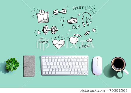Fitness and diet with a computer keyboard 70391562
