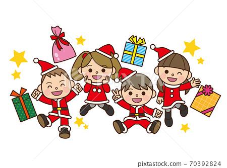 산타 의상 어린이와 선물 70392824