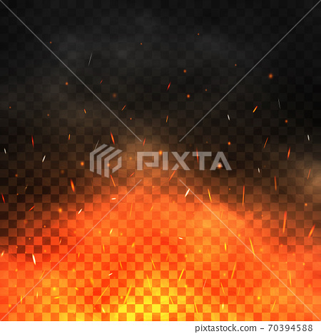 Fire sparks flying up. Realistic fire and smoke. Glowing particles on a transparent background. Bonfire with red and yellow light effect. Vector illustration 70394588