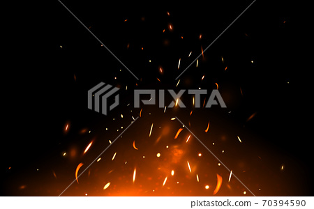 Fire sparks and particles on dark backdrop. Realistic bonfire with heat effect. Hell fire and light flame. Flying up bright and hot elements isolated on black. Vector illustration 70394590