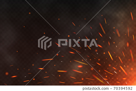Fire sparks flying up on transparent background. Smoke and glowing particles on black. Realistic lighting sparks with bokeh effect for design. Vector illustration 70394592