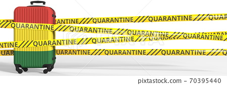 Quarantine warning stripes and a baggage with flag of Bolivia. Tourism restriction concept, 3d rendering 70395440