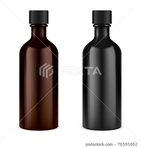 Medicine syrup bottle. Brown glass screw cap jar 70395802