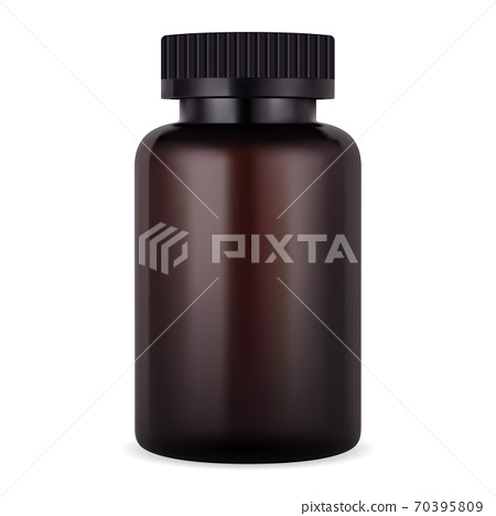 Amber supplement bottle. Brown pill tablet jar 70395809