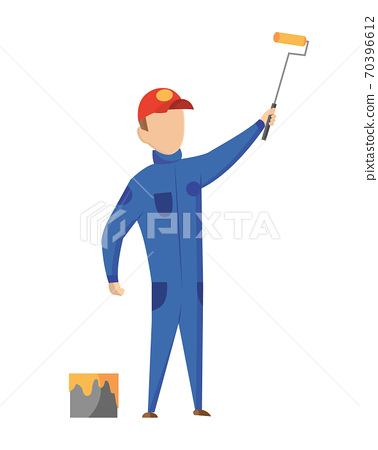 Builder. Painter. Construction worker with professional equipment during building activity. Vector illustration. Professional construction worker character 70396612