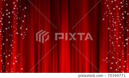 紅色窗簾材料懸垂簾星星裝修星塵 70399771