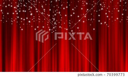 紅色窗簾材料懸垂簾星星裝修星塵 70399773