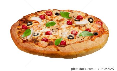 Seafood pizza closeup 70403425