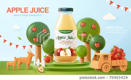 Fresh apple juice ad banner 70403429