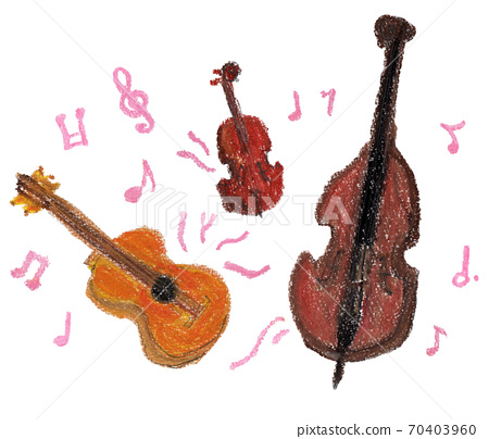 음악을 연주하는 현악기의 크레용 일러스트 70403960