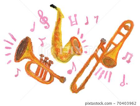 演奏音樂的管樂器的蠟筆插圖 70403962