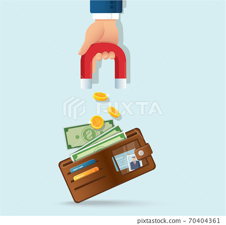 hand holding magnet attracting money from a wallet vector illustration  70404361