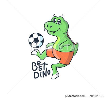 The funny dino boy playing soccer. Cartoonish sport dinosaur 70404529