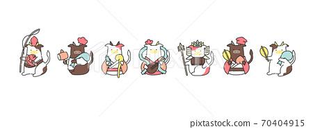 2021年在日本慶祝新年的母牛的七個財富神的插圖矢量文件時尚可愛 70404915