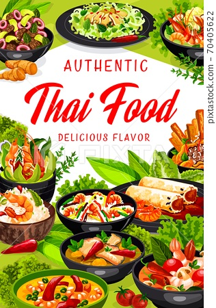 Thai cuisine Asian dishes Thailand food poster 70405622