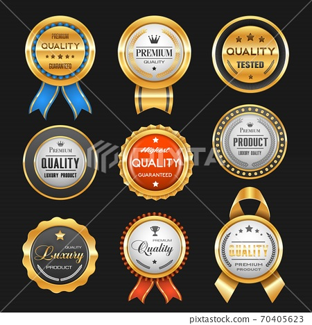 Business labels and premium quality golden badges 70405623