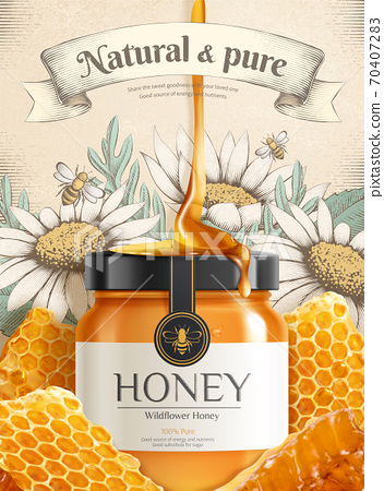Engraving wildflower honey ads 70407283