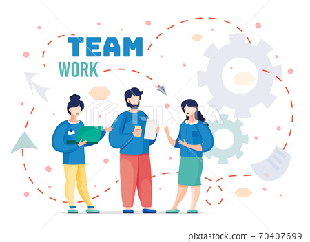 Team workers standing and discussing project, sharing ideas, communication, business collaboration 70407699