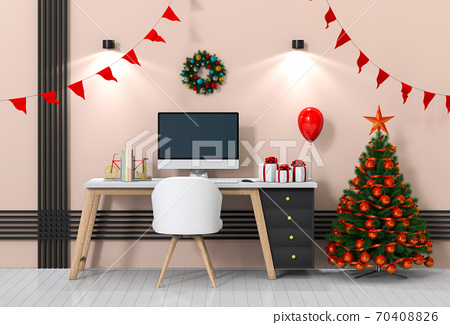 Christmas interior workspace with computer. 3d render 70408826