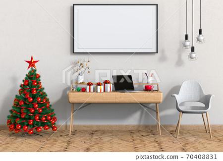 mock up poster frame Christmas interior workspace room. 3d render 70408831