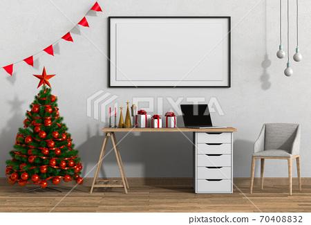 mock up poster frame Christmas interior workspace room. 3d render 70408832