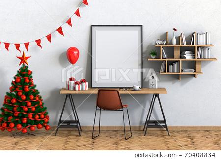 mock up poster frame Christmas interior workspace room. 3d render 70408834