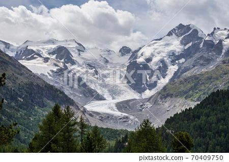 The Bernina mountain range in the Swiss Alps, upper Engadin in Graubuenden 70409750