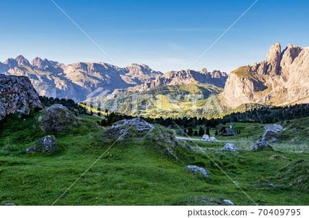 Panorama of the Alpes at Canazei in Dolomites, Trentino Alto Adige. Italy 70409795