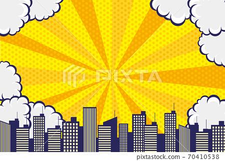 漫畫風格的雲彩,天空和城市背景素材 70410538