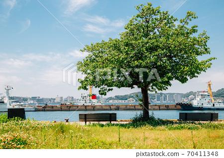 Mojiko retro town Seaside park in Kitakyushu, Japan 70411348