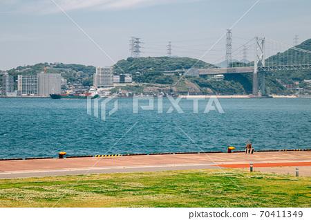 Mojiko retro town Seaside park in Kitakyushu, Japan 70411349