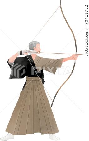 Elderly man with a bow Kyudo 70411732