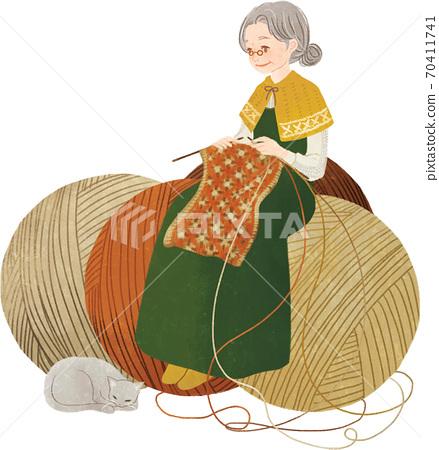 뜨개질을하는 여성 70411741