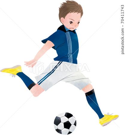 射擊足球的男孩 70411743
