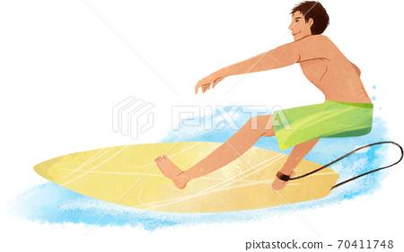 衝浪者在海浪上 70411748