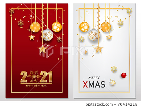 Happy new year gold and black colors place for text with Christmas balls 2021 of vector illustration. 70414218